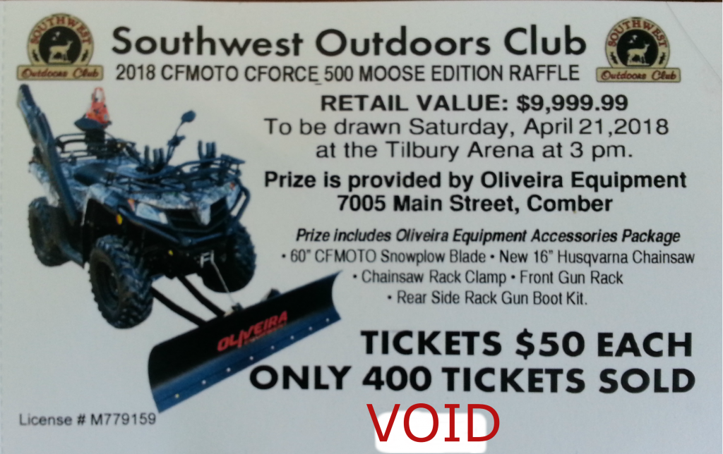 Big Buck Show ATV Draw only 400 tickets!
